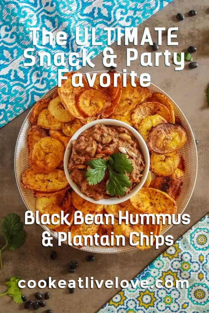 Spicy black bean hummus pin with text Ultimate Snack and Party Favorite