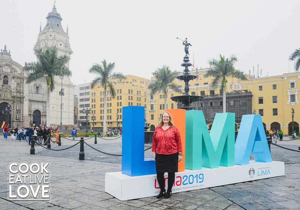 Photo of me standing in the Plaza de armas of Lima while on a trip exploring Peruvian food in that area.