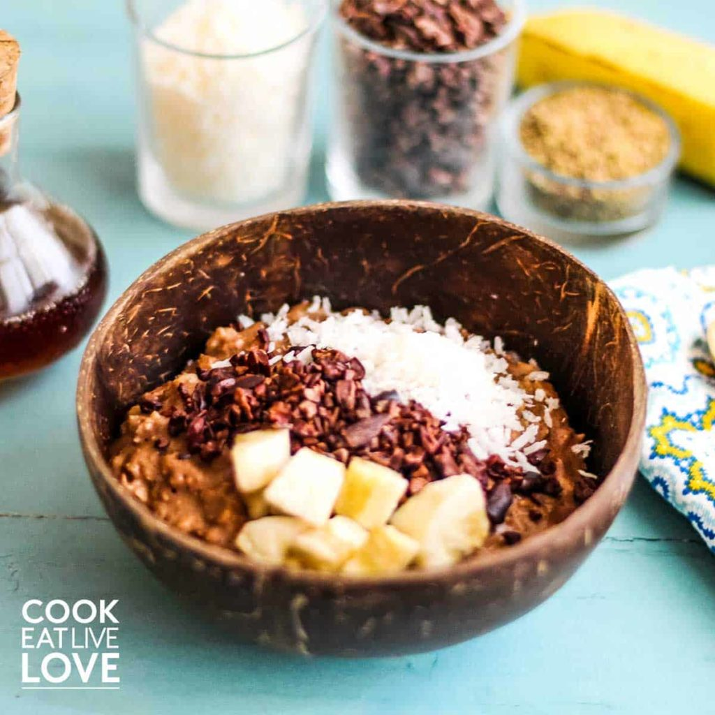 Banana chocolate oatmeal in a bowl