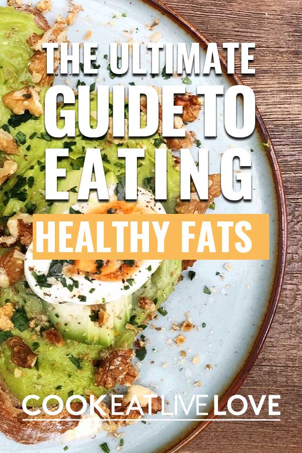 """Pin for pinterest with photo of plate of avocado toast with the text """"the ultimate guide to eating healthy fats"""" on top."""