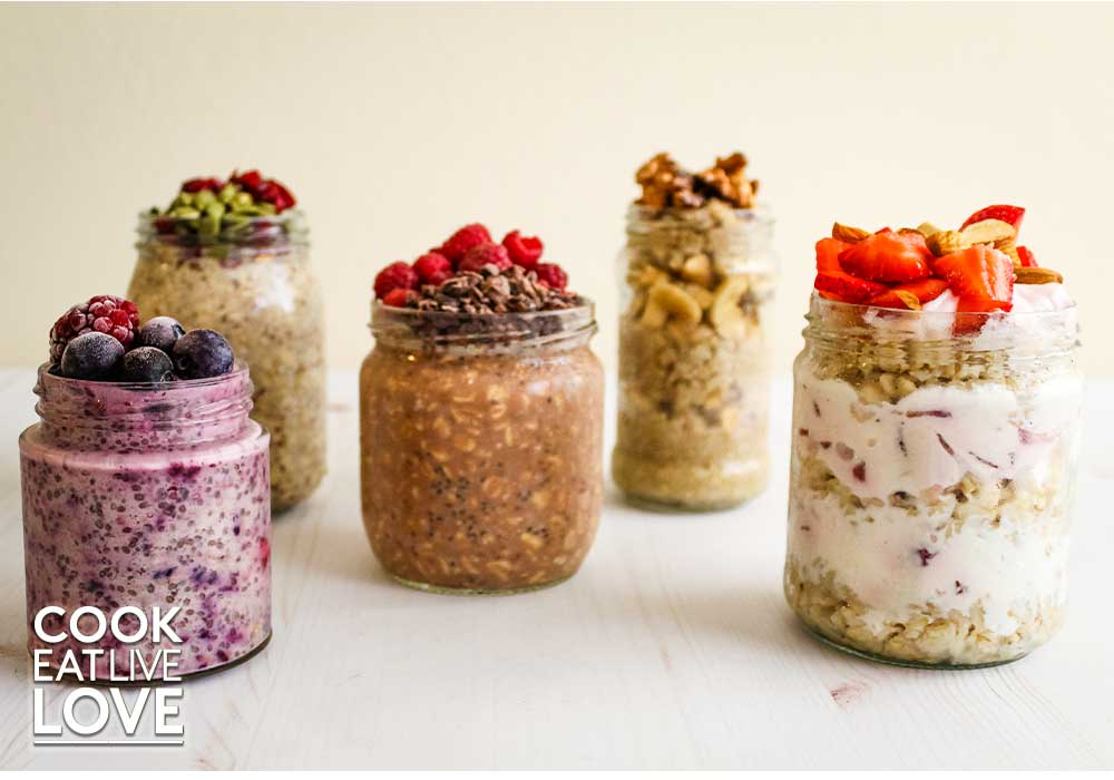 Photo from front of all five oat jars ready to eat.