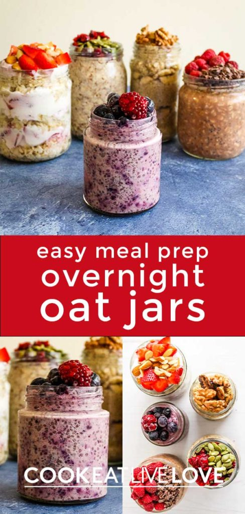 Pin for pinterest with various photos of oat jars.