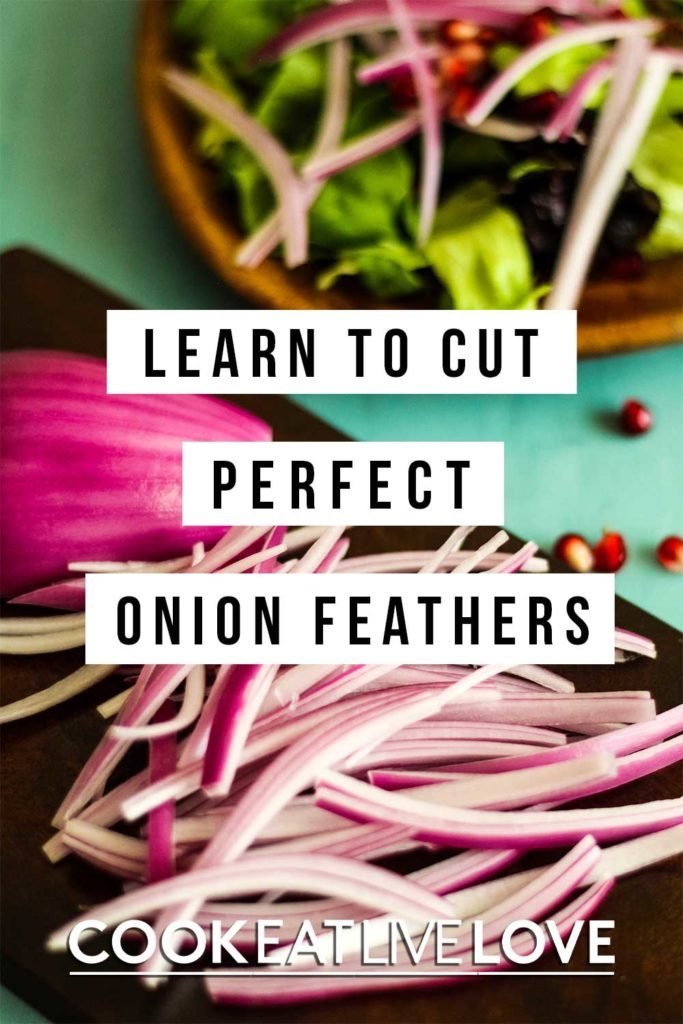 Pin for pinterest of how to cut onions for salad