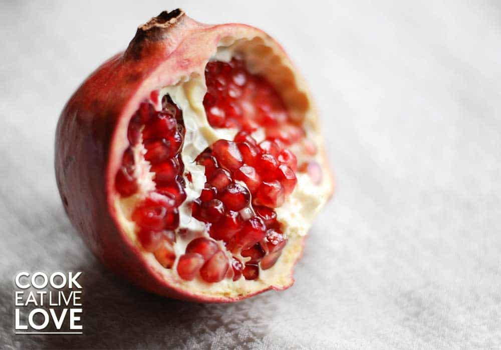 Photo of pomegranate used in a pomegranate salad or use the juice to make pomegranate vinaigrette.