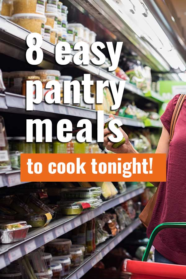 Pin for pinterest with photo of canned goods aisle in grocery store with text on top.