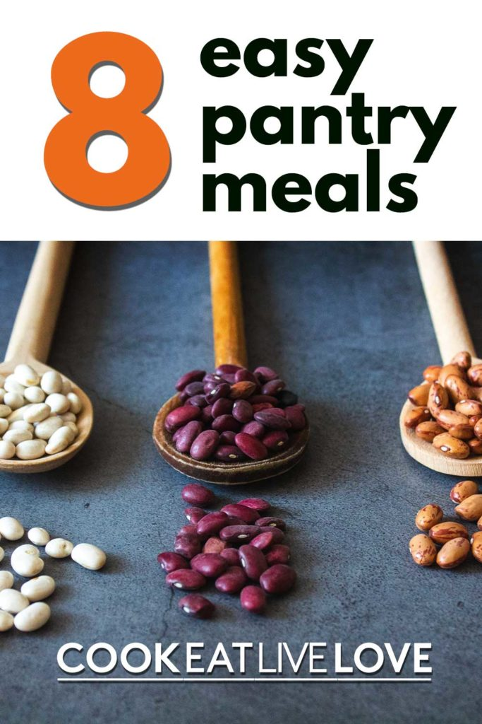 Pin for pinterest with photo of dried red, white and brown beans in spoons laying on a countertop.