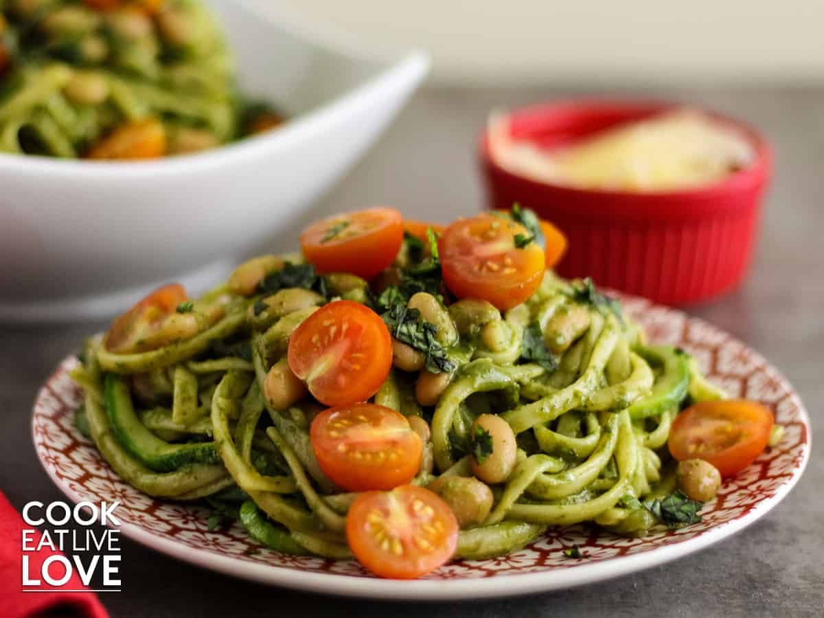Plate of pesto pasta and beans