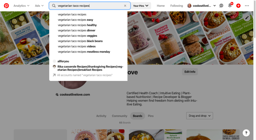 Screenshot of starting a pinterest search in my demonstration of using pinterest to save time cooking.