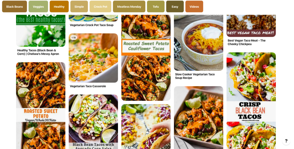Screenshot of pinterest search showing all the results in my demonstration of using pinterest to save time cooking.