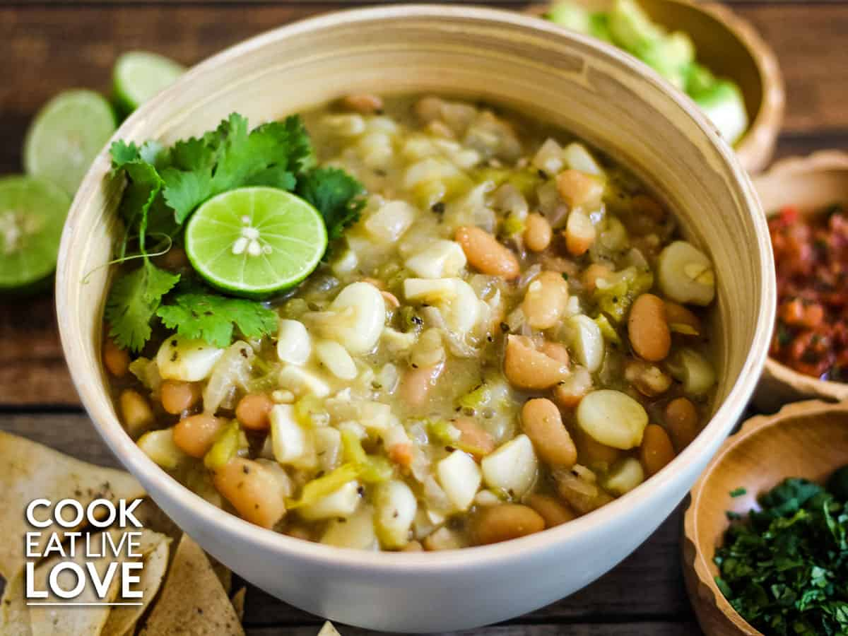 Bowl of white bean chili