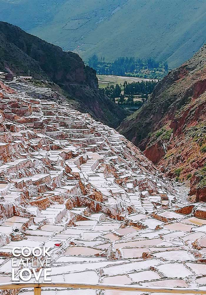 Maras salt, a Peruvian ingredient comes from these salt flats in the Sacred Valley.