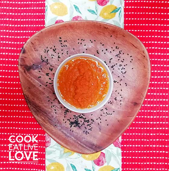 Photo of carrot miso sauce from overhead