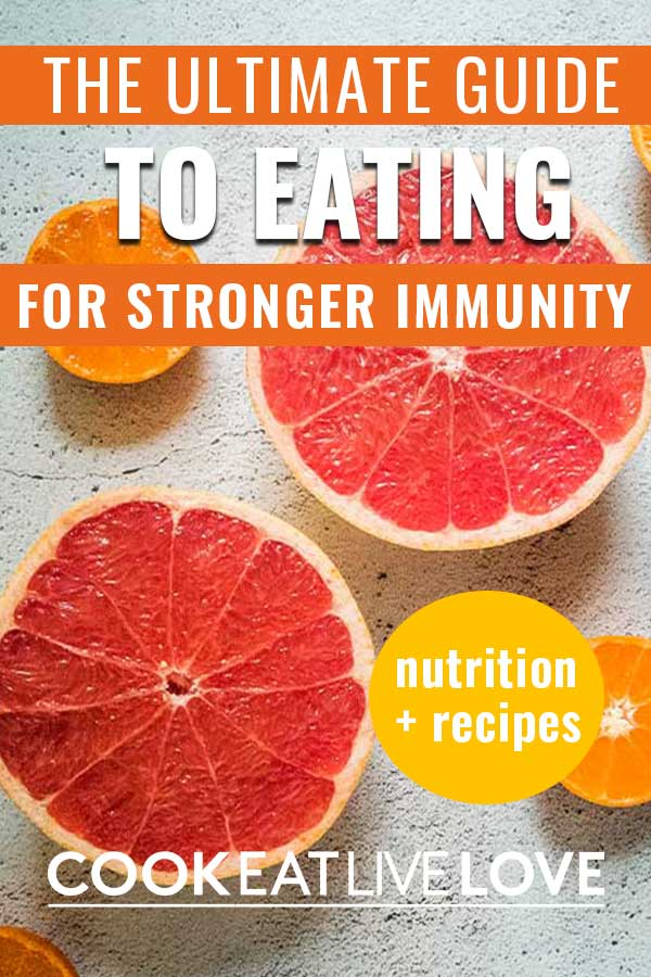 Pin for pinterest with photos of citrus fruits that are great to strengthen your immune system with text overlay.