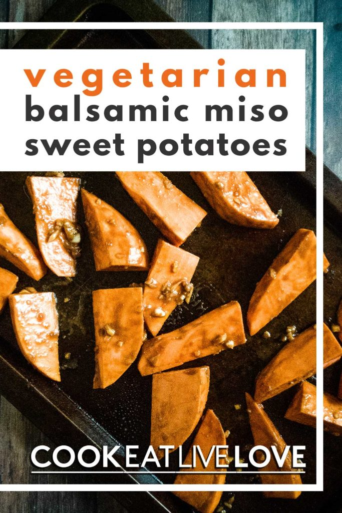 Pin for pinterest of roasted miso sweet potatoes on a baking sheet.
