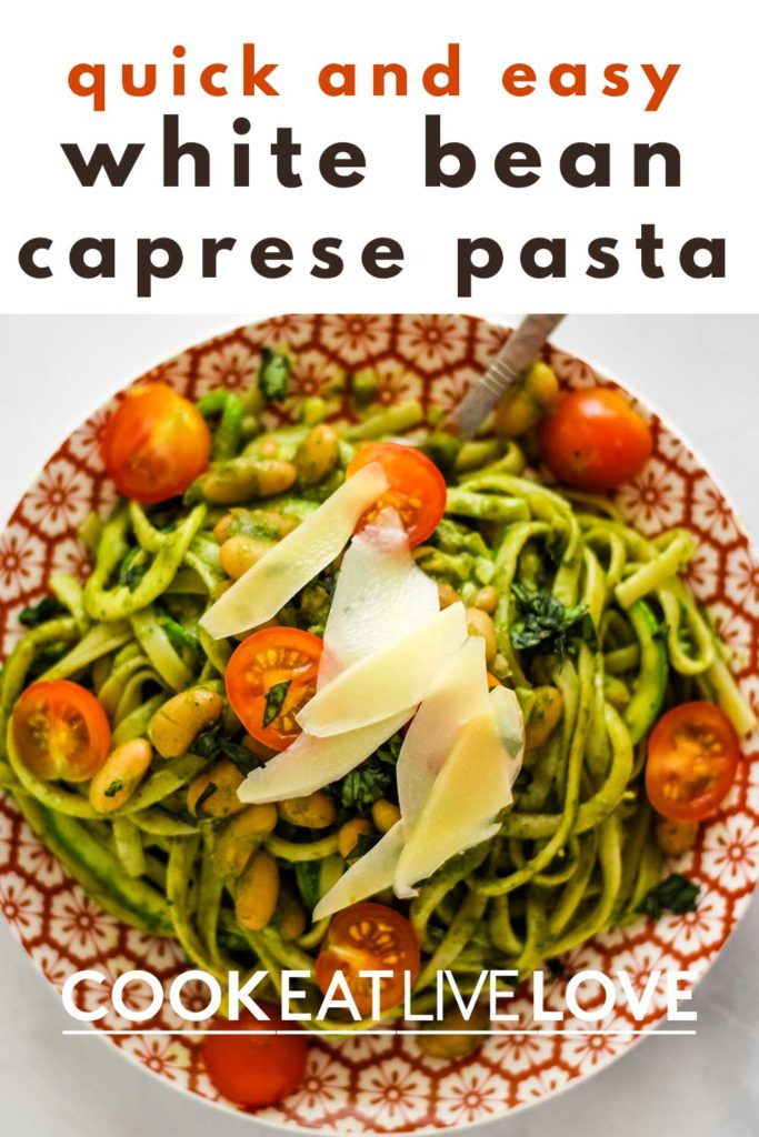 Pin for pinterest with overhead shot of finished plate of caprese pasta and text on top. Quick and easy.