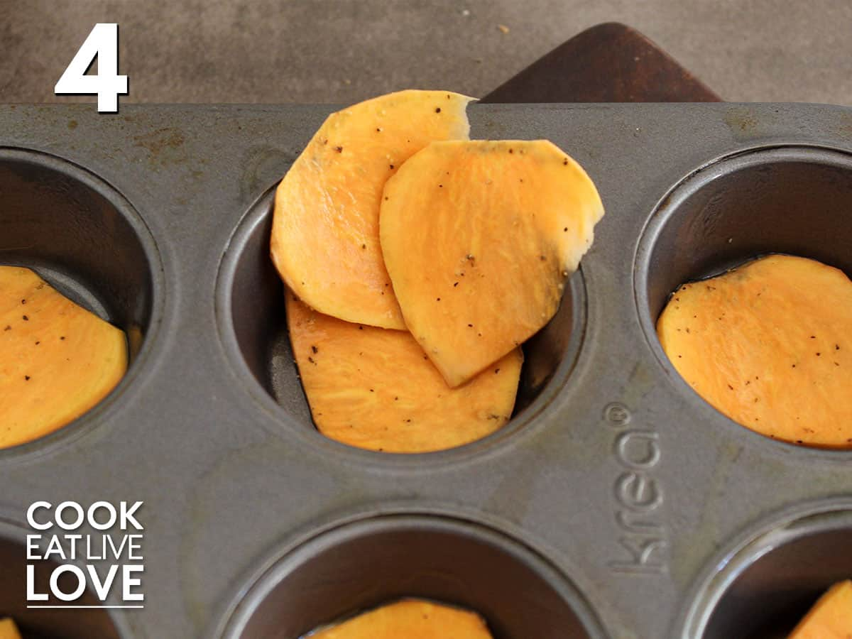 Adding sweet potato slices along the sides of each cutout in the muffin pan