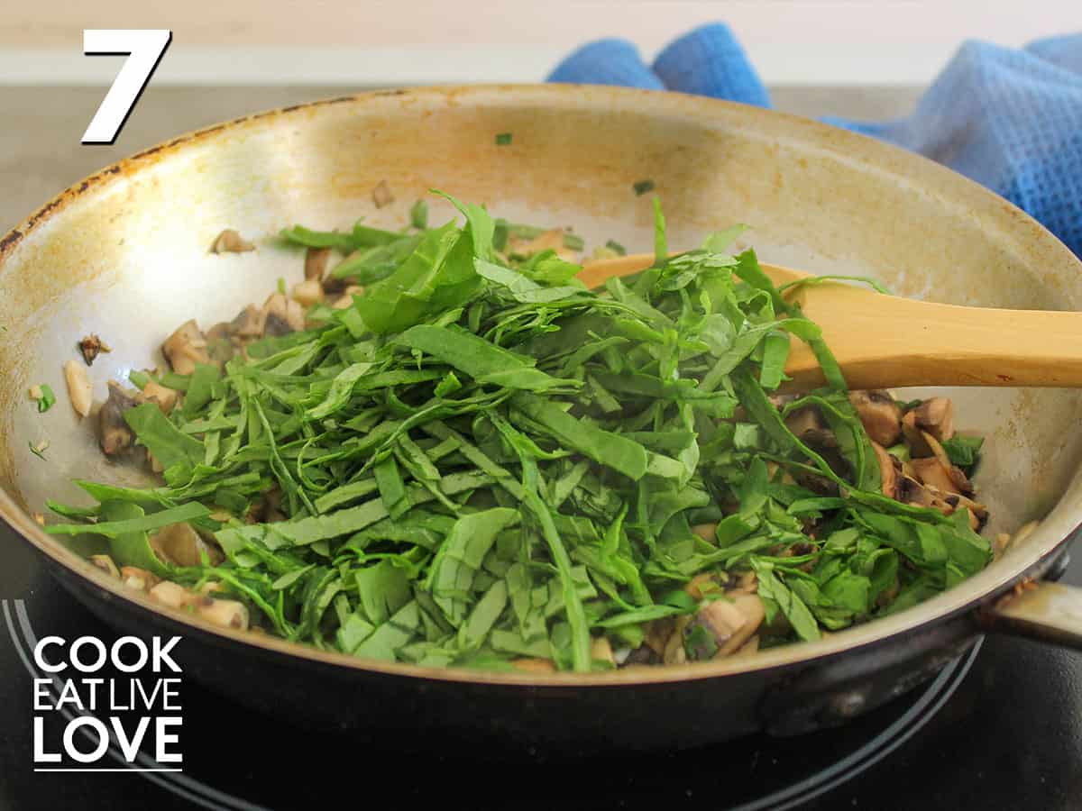 spinach added to the pan