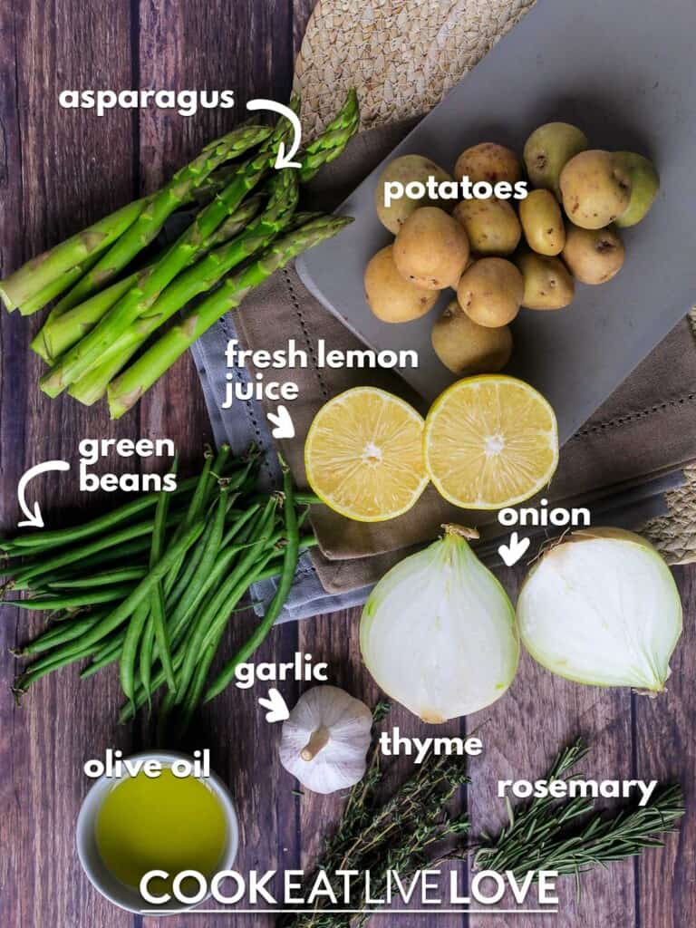 Ingredients to make veggie potato bake on table