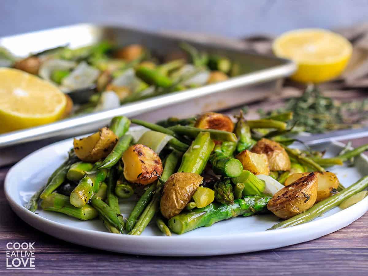 Veggie potato bake served up on a plate