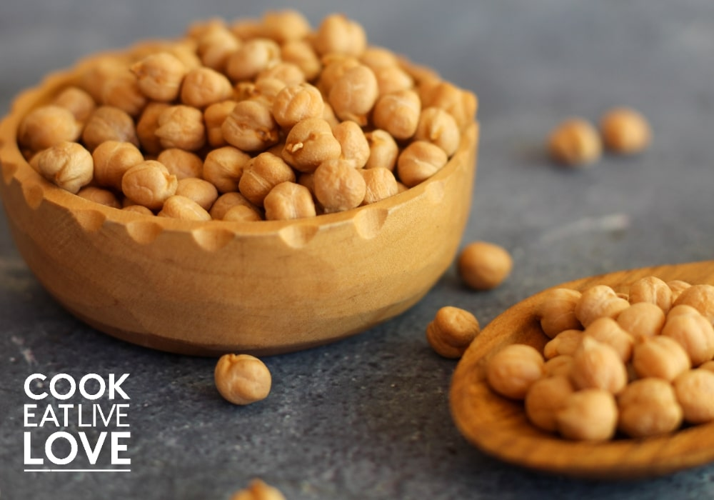 Dried chickpeas in wooden bowl and wooden spoon on blue background.