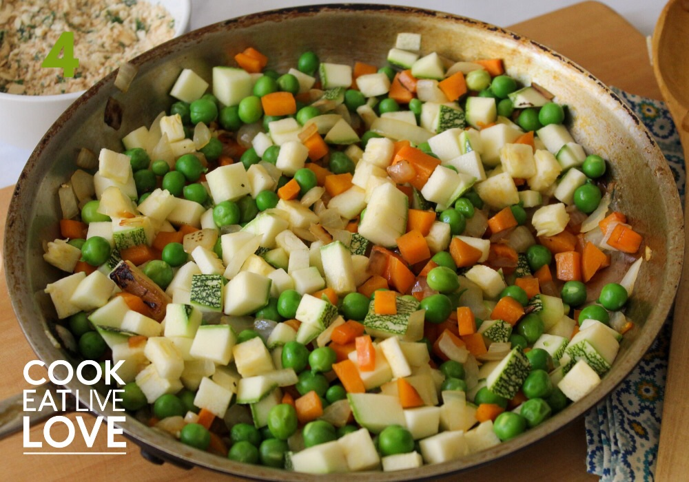 Vegetables are added to skillet