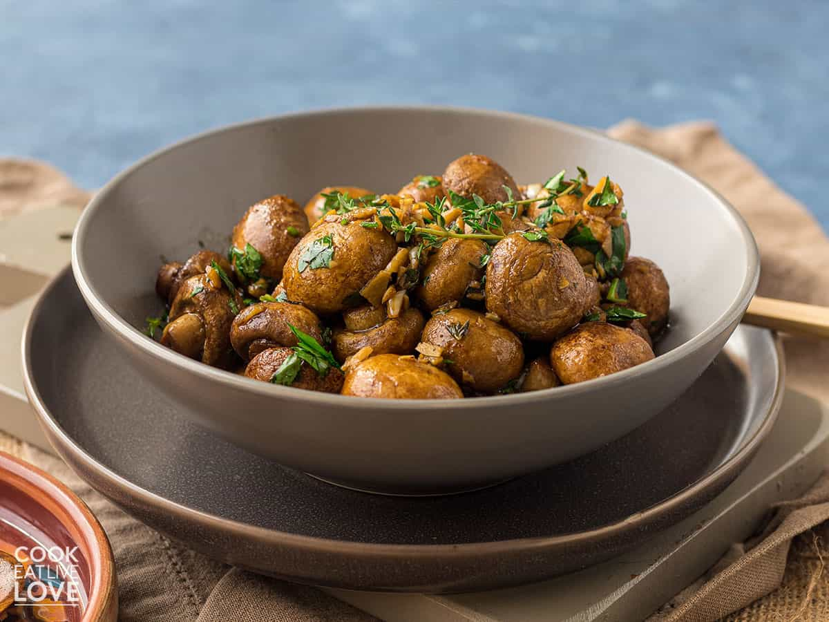 Oven roasted mushrooms in a bowl