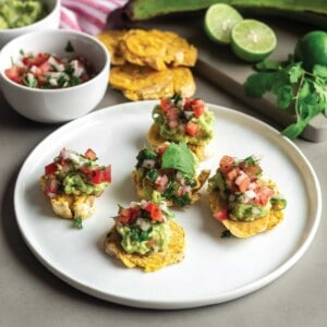 Closeup of baked tostones ready to eat.