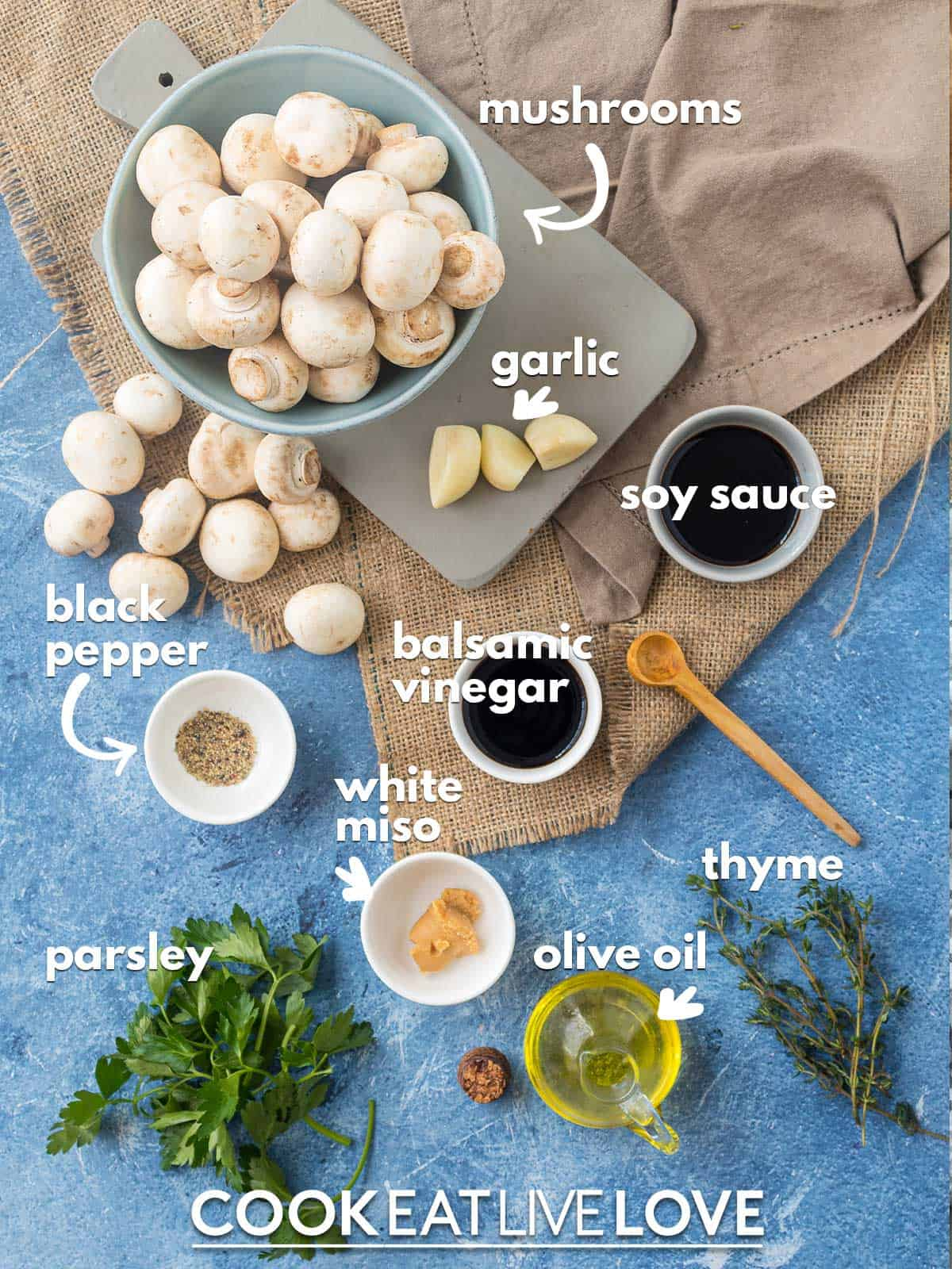 Ingredients to make miso mushrooms on a table