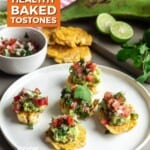 PIn for pinterest with photo of baked tostones and red border.