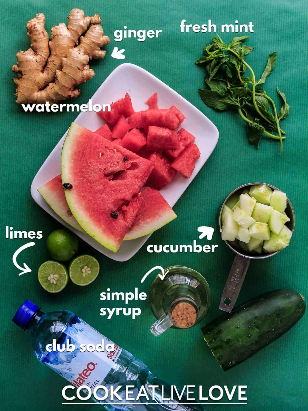 Ingredients to make watermelon soda on table with text labels