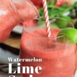 Pin for pinterest graphic with image of glass of watermelon soda and text