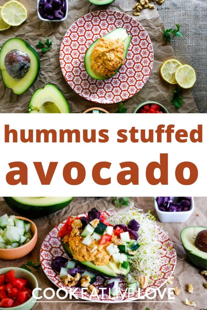 Pin for pinterest with two photos.  One of stuffed avocado boat ready to eat and one deconstructed and surrounded by all the chopped vegetables.  Text in the middle between the two photos.