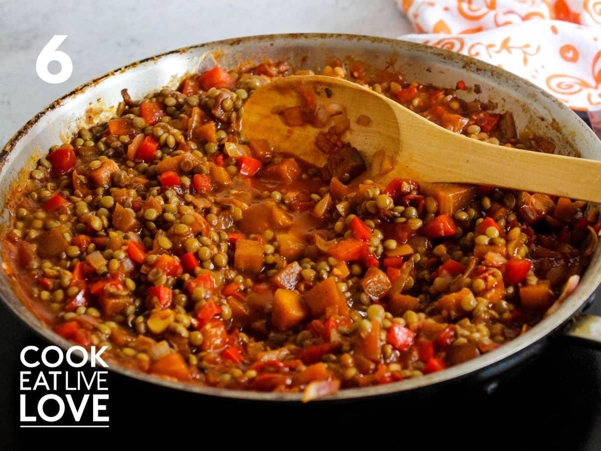 Vegan sloppy joe recipe in pan