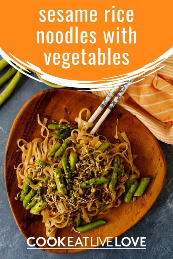 Pin for pinterest with overhead shot of plate of vegetarian rice noodle stir fry with text on top in orange.