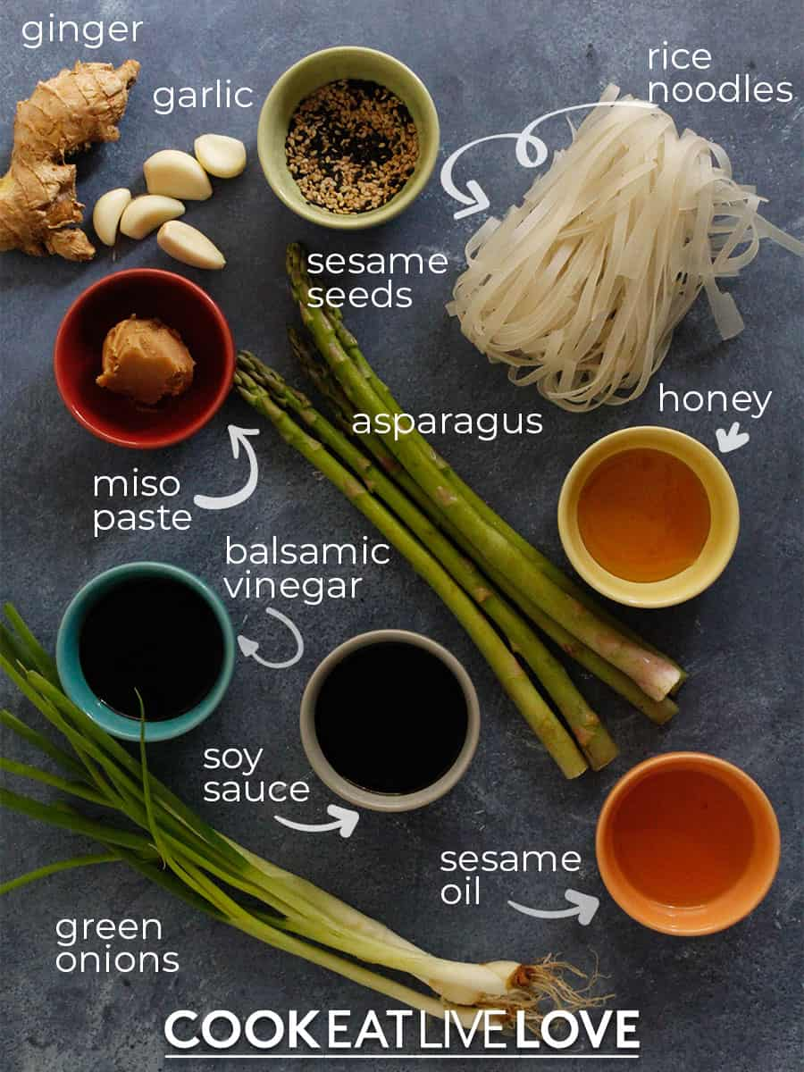 Ingredients to make sesame noodles on a table with text labels