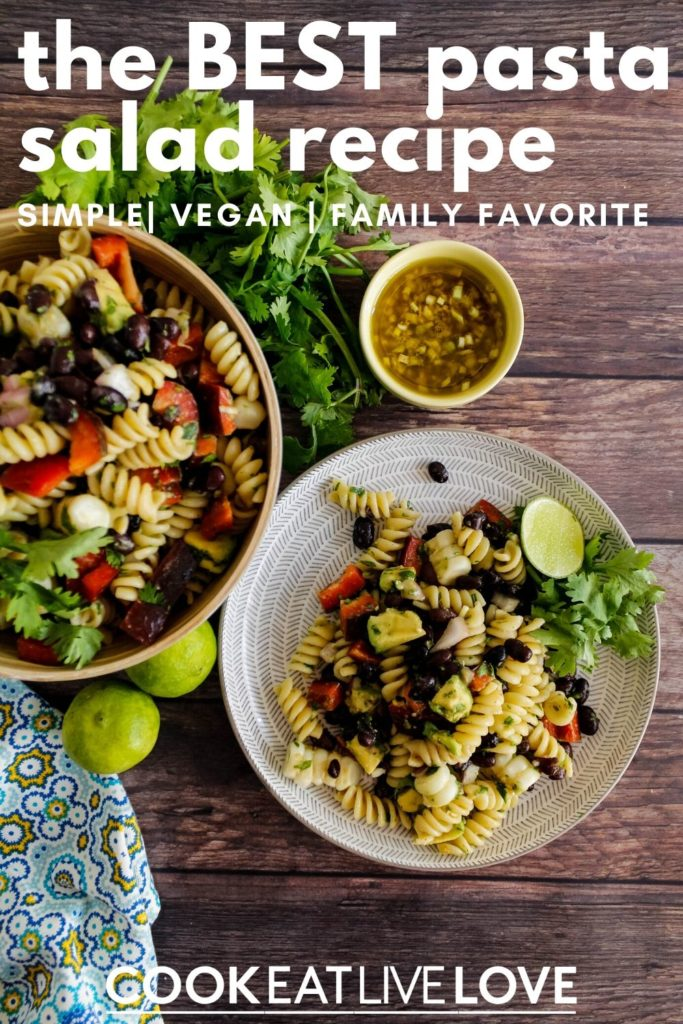 Pin for pinterest with photo from overhead of plate of pasta salad and bowl of more salad and dressing. Text on top of photo.