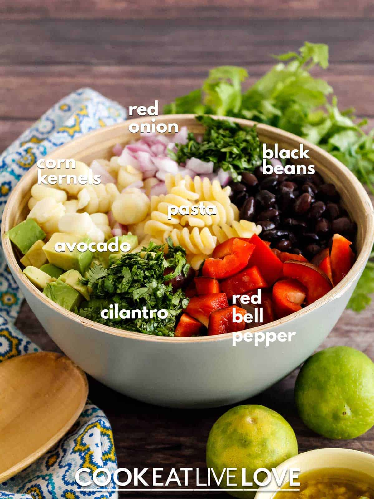 Bowl if ingredients to make southwestern pasta salad with text labels