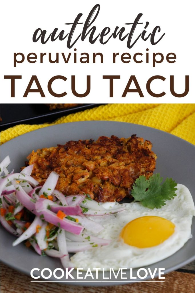 Pin for pinterest with a plate of tacu tacu, eggs and onions closeup.  On the top is the text for the pin.