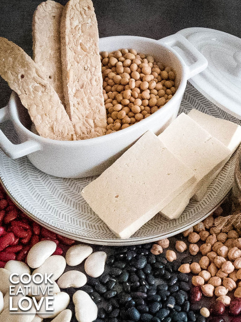 Photo of plant based proteins including beans of all colors, tofu, tempeh and soy beans.
