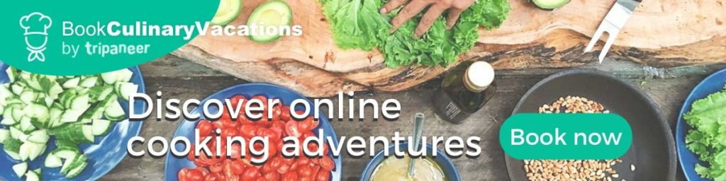 Ad for online culinary adventures.