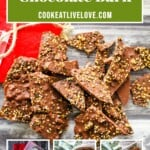 PIn for pinterest graphic with images of chocolate bark and text