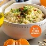 Pin for pinterest graphic with image of bowl of oats instant pot and text