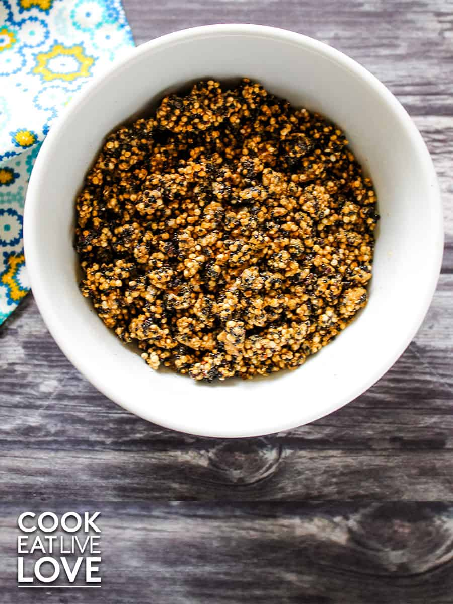 Bowl of caramelized quinoa ready to add to chocolate.