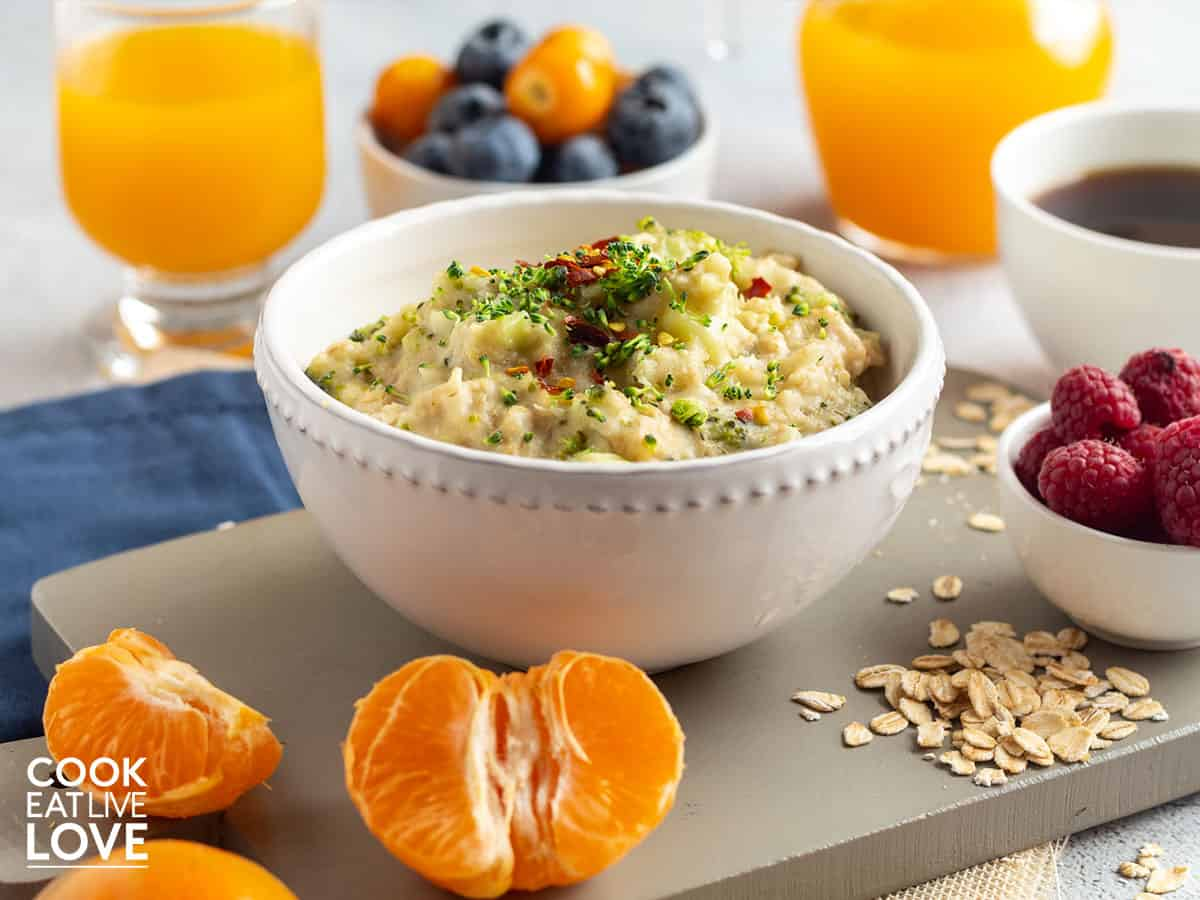 Savory oats in a bowl on table.