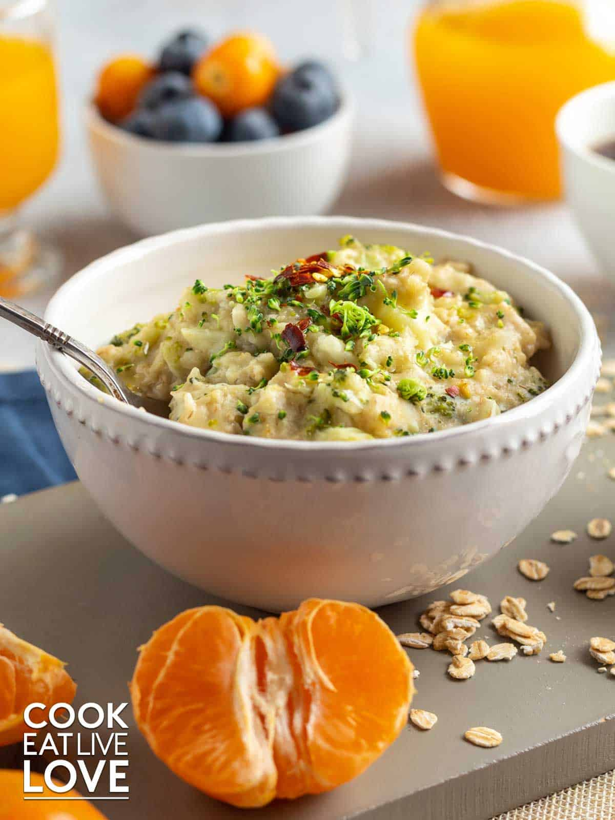 Bowl of savory oats served up for breakfast.
