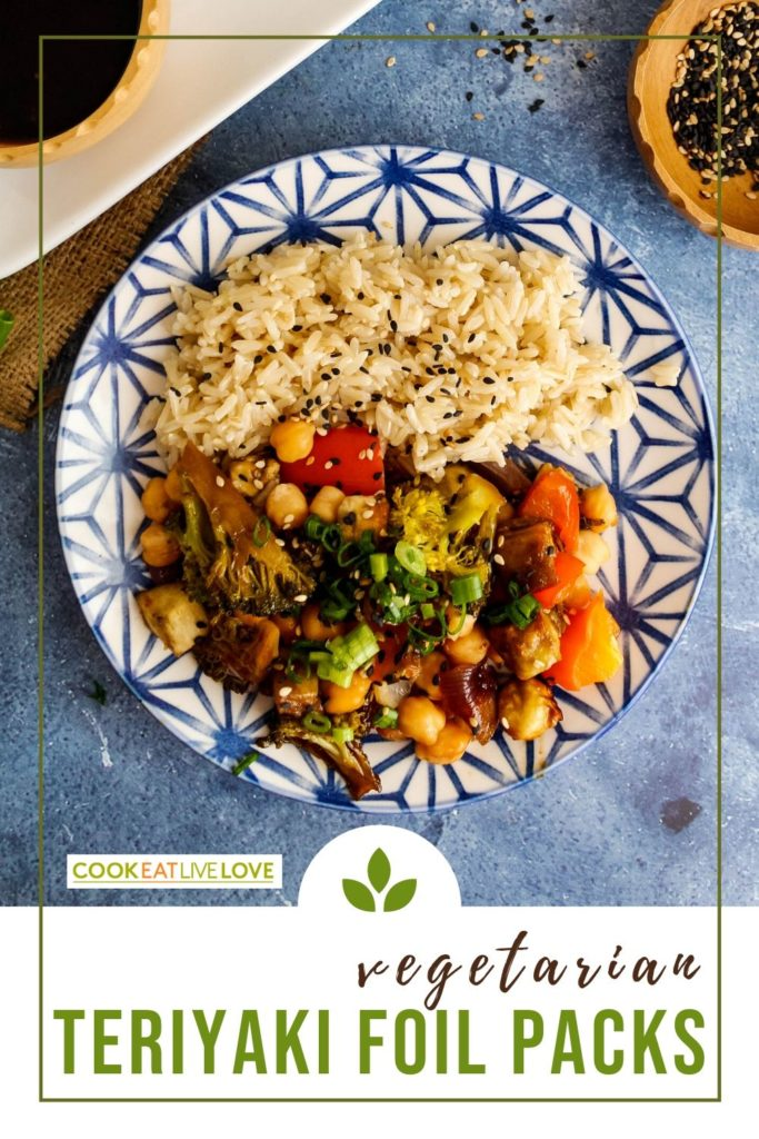Pin for pinterest with photo of plate of cooked vegetables and chickpeas.  Text on the bottom of the photo.