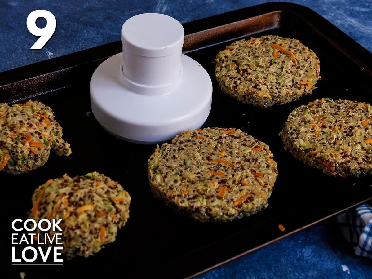 Making quinoa burgers on a baking sheet tray.