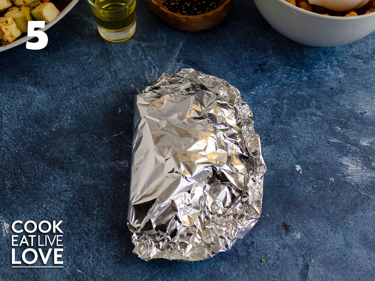 Foil pack folded up and ready for the oven