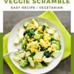 Pin for pinterest with overhead shot of veggie egg scramble