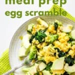 Pin for pinterest with close up of egg and veggie scramble